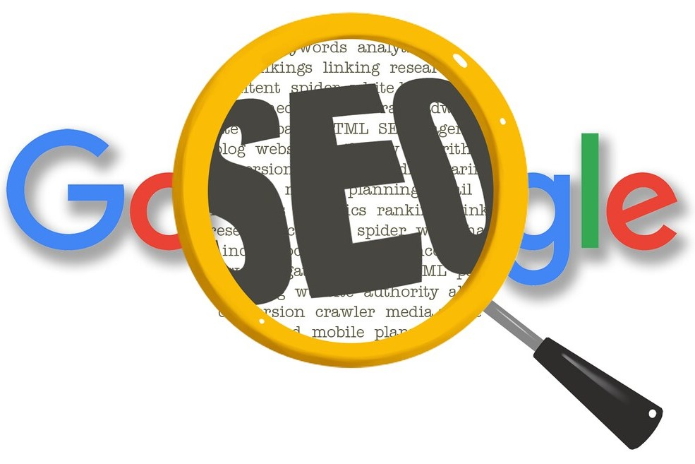 Google logo with magnifying glass showing the word SEO