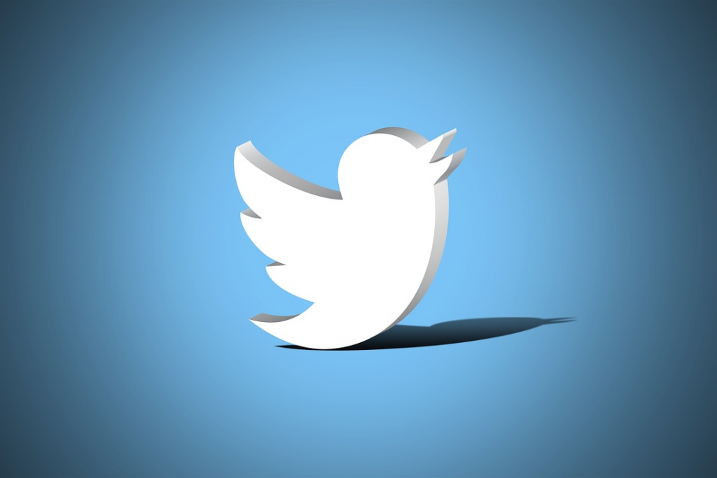 3d version of the twitter logo