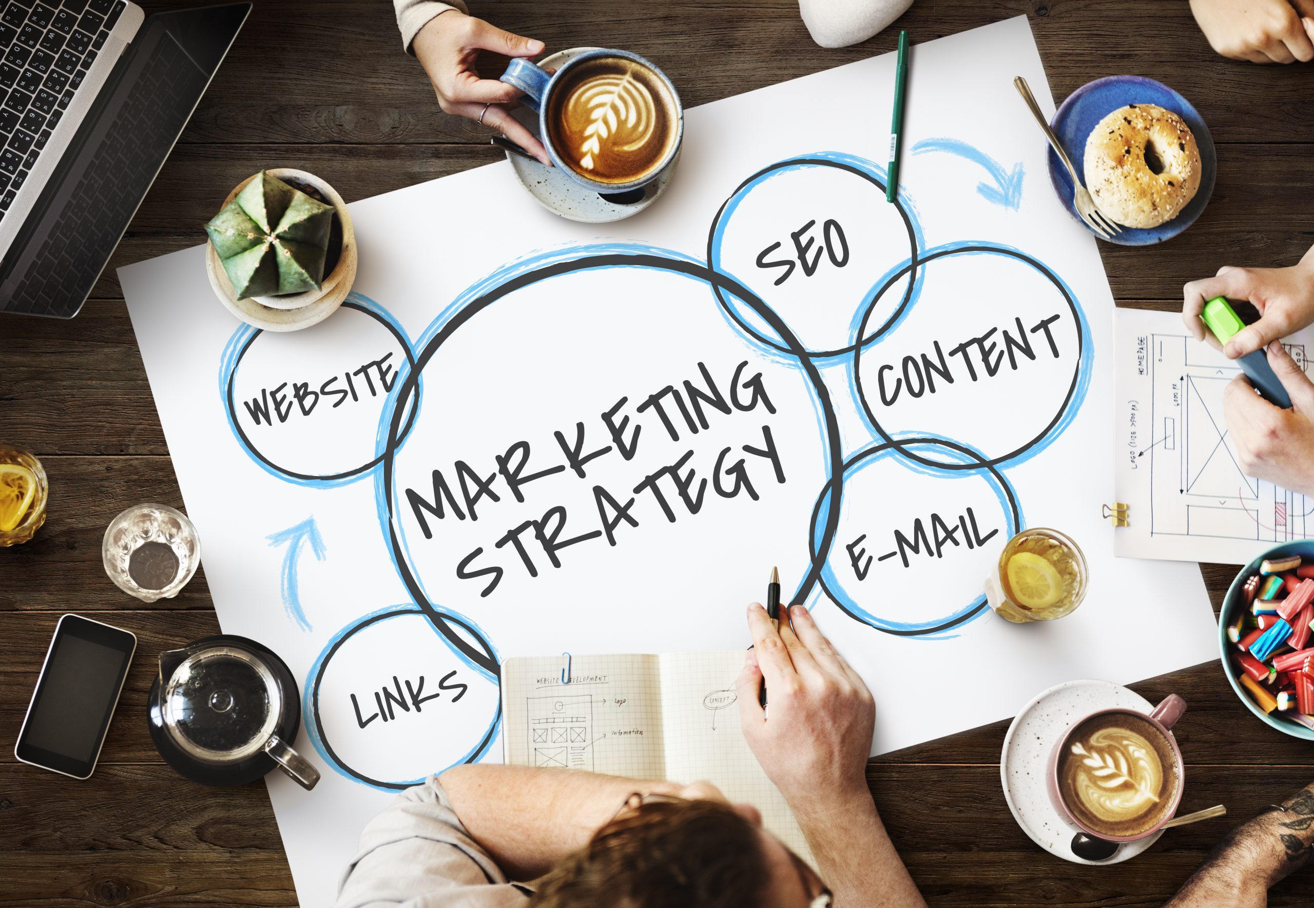People sat around a marketing strategy poster on a table.