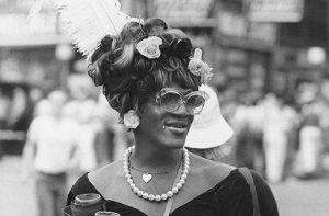 Black and white photo of Marsha P. Johnson