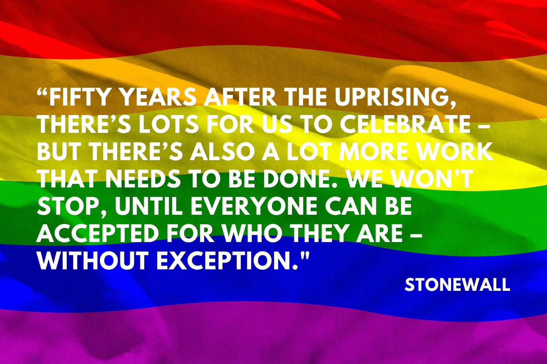 Rainbow flag with text