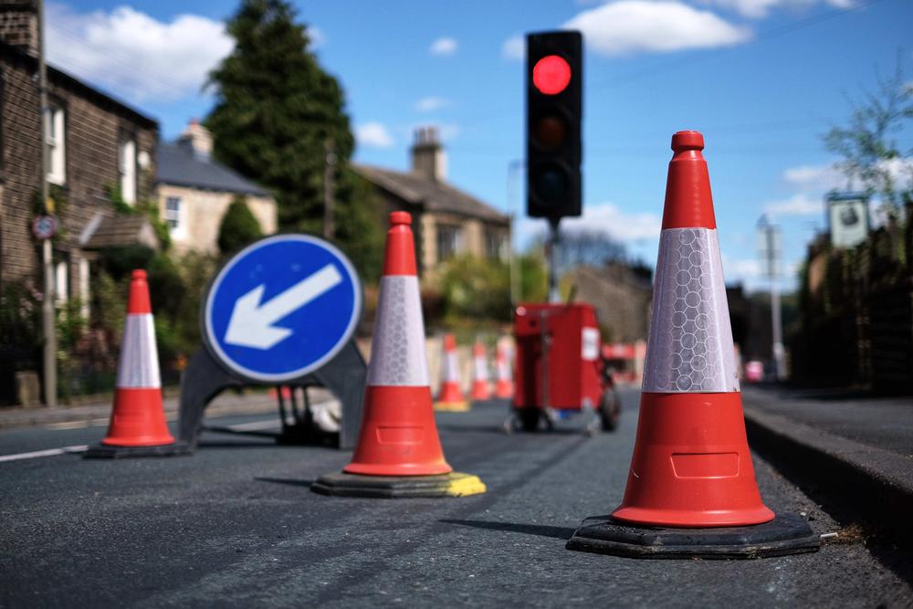 traffic cones on road