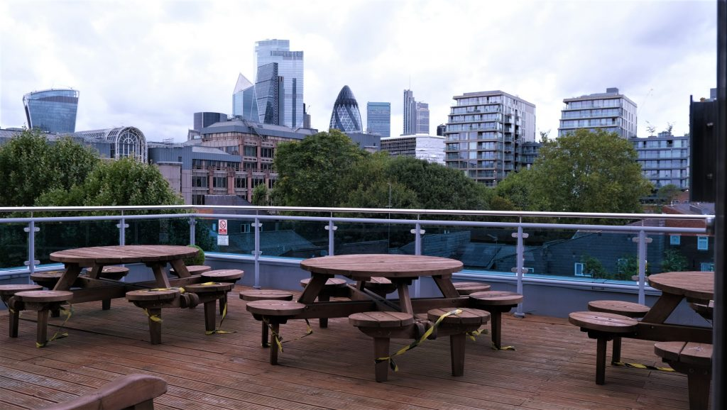 Outdoor picnic area with views of the London skyline