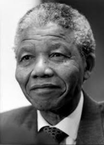 Nelson Mandela in black and white