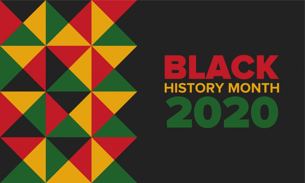 Black, red, yellow and green pattern next to black history month title