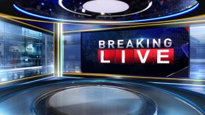 News set with the words breaking live on the screen