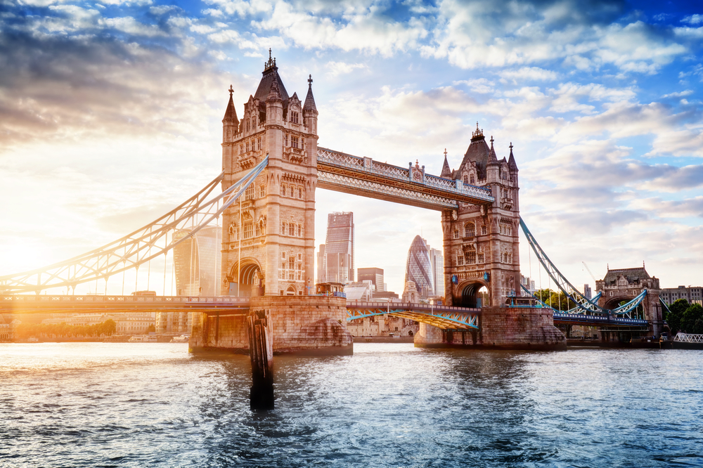 Tower Bridge in London over the River Thames.