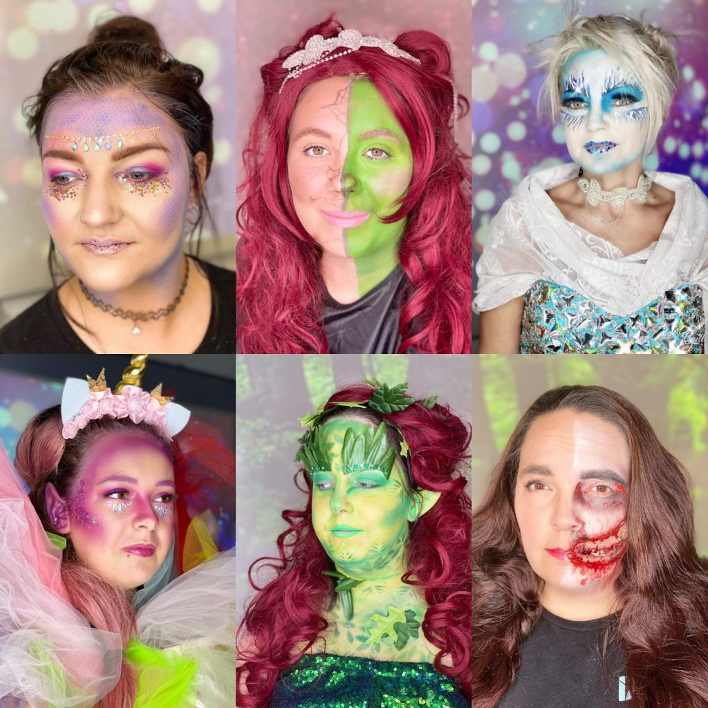 Collage of six faces with theatrical make-up techniques applied