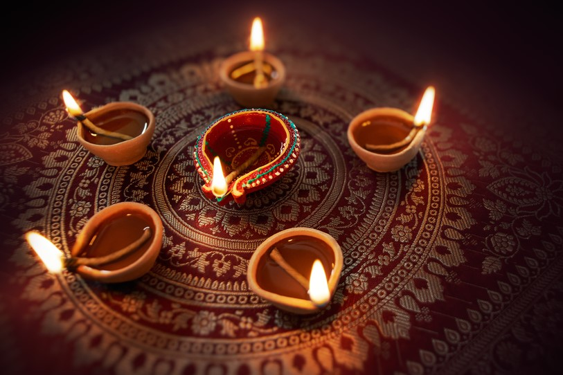 Small candles on the floor for Diwali celebrations