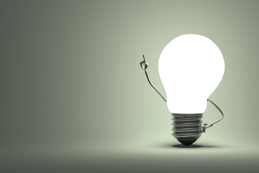 Light bulb with an arm raised as a question
