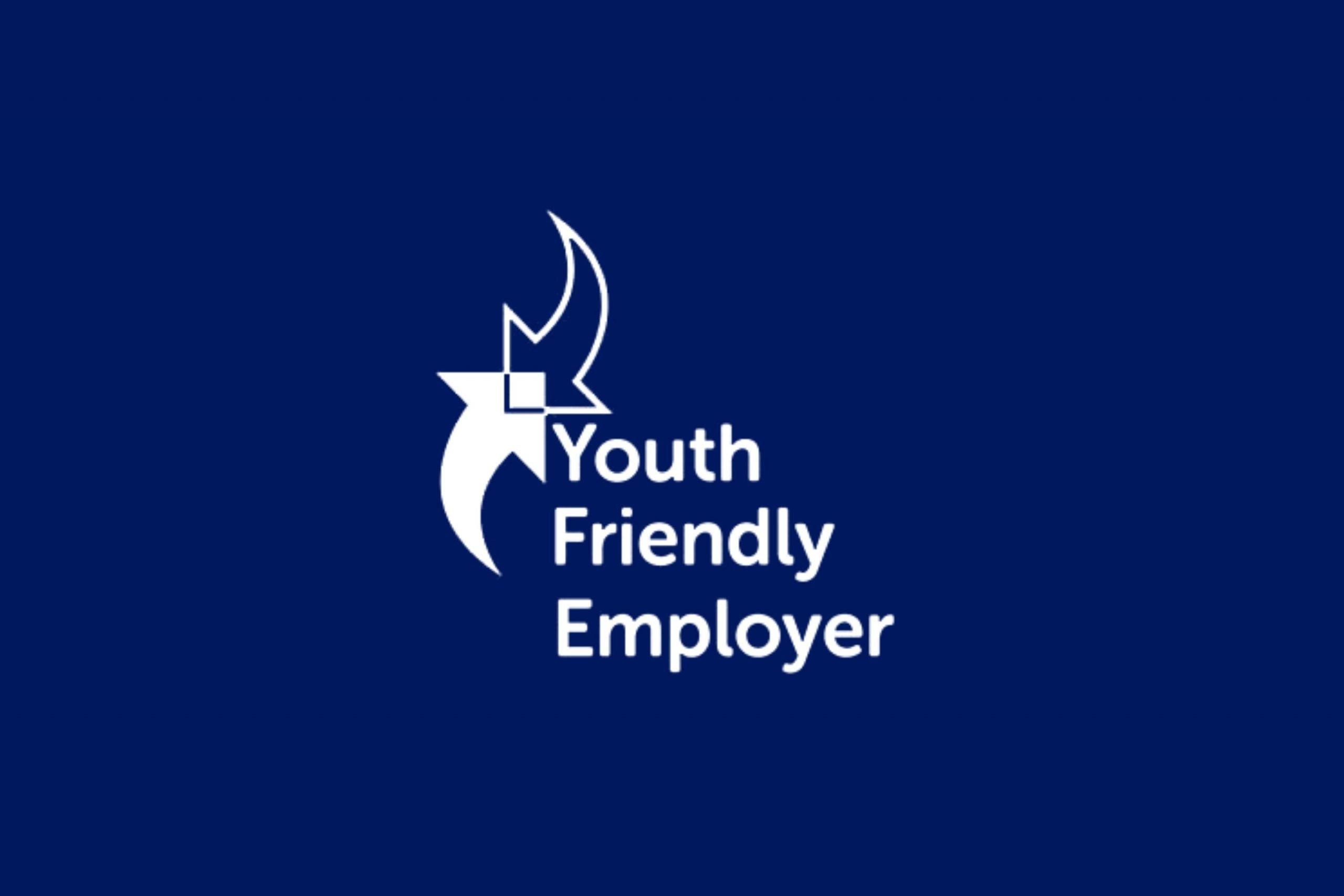 Youth Friendly Employer white logo on blue background