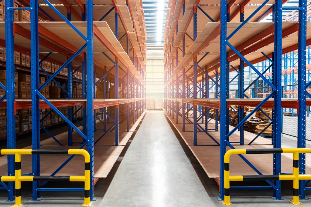 Warehouse with shelving for products