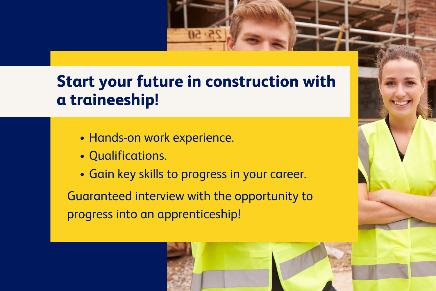 Image of construction trainees with text information