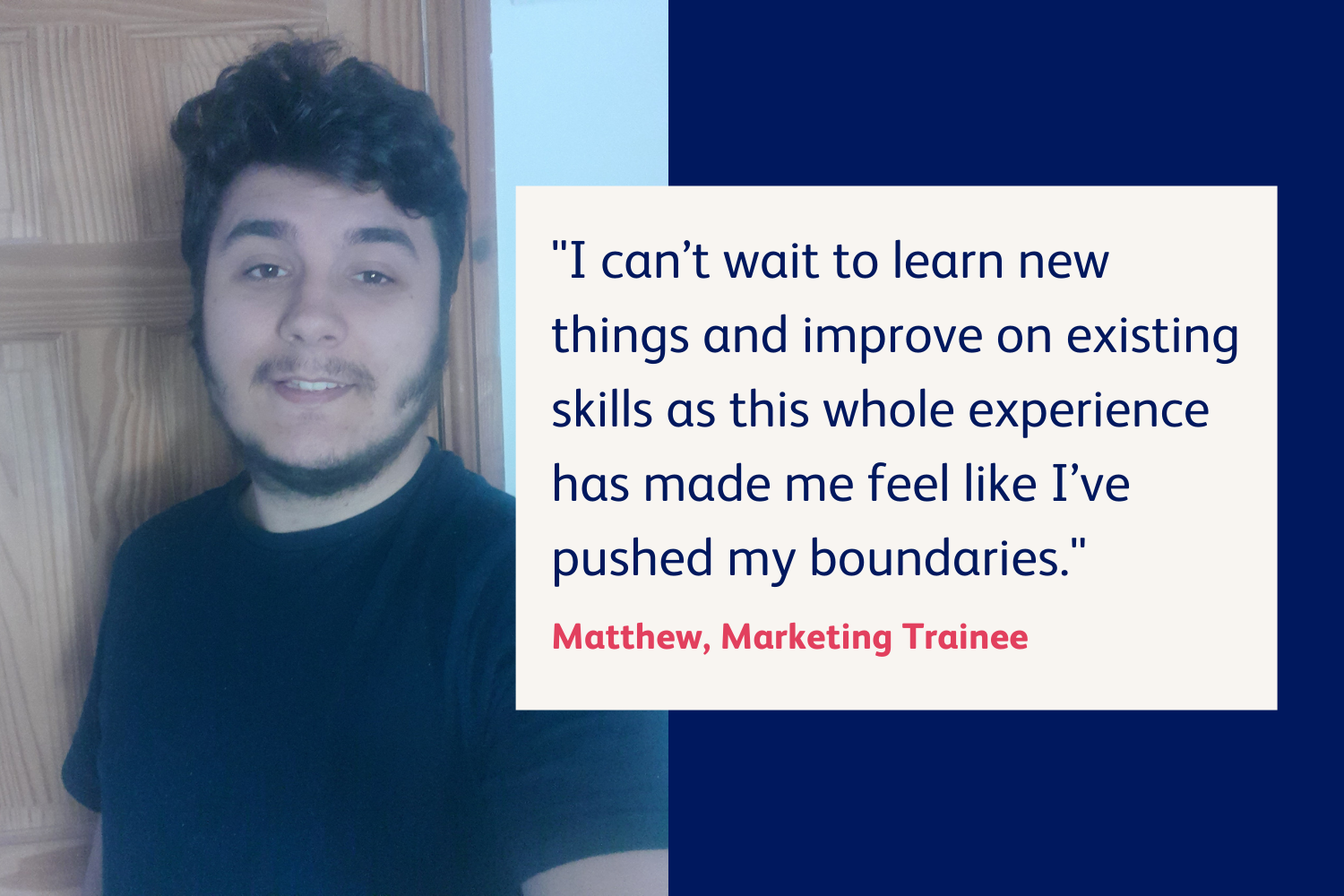 Picture of Matthew with a quote