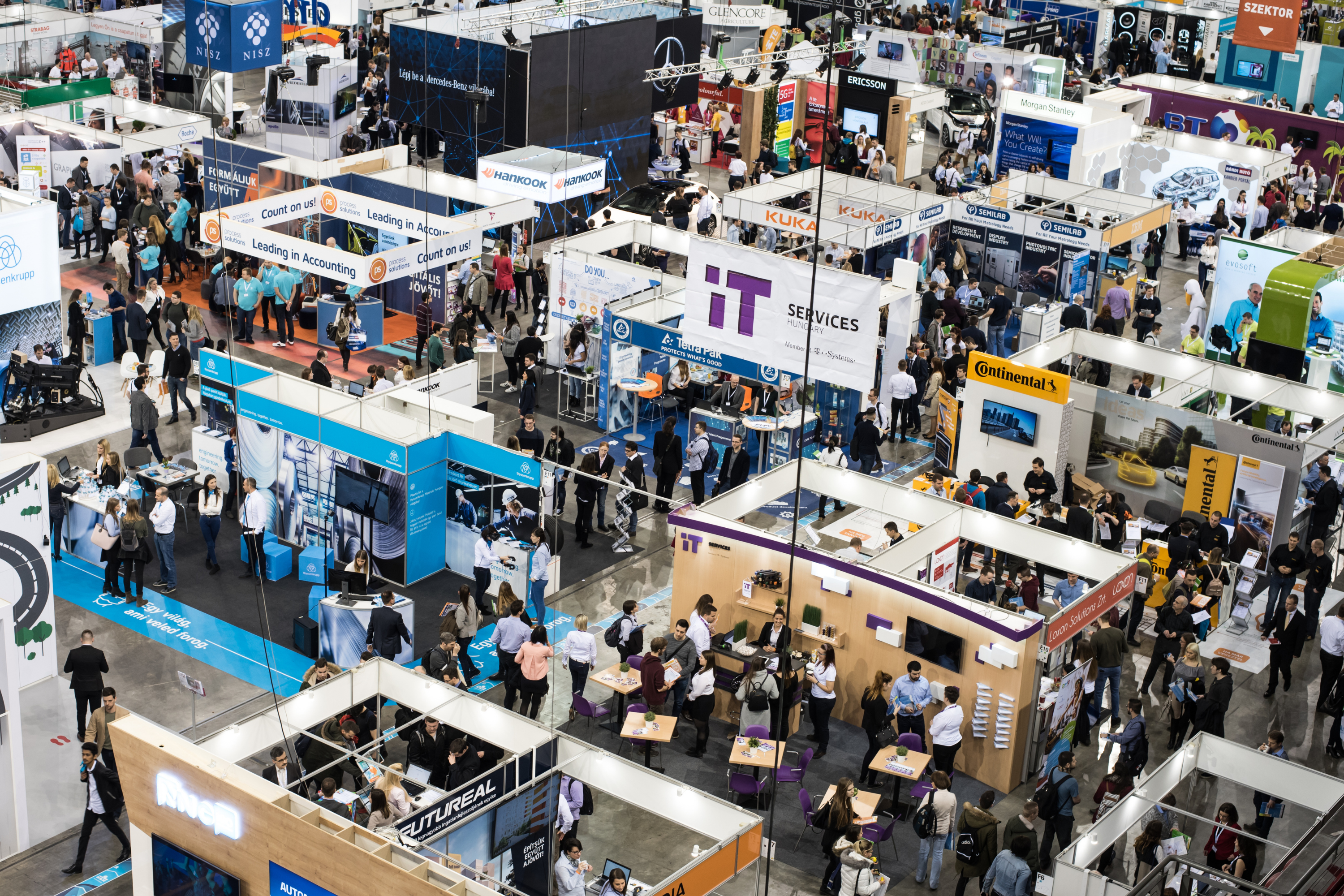 Photo from a high angle of a careers fair