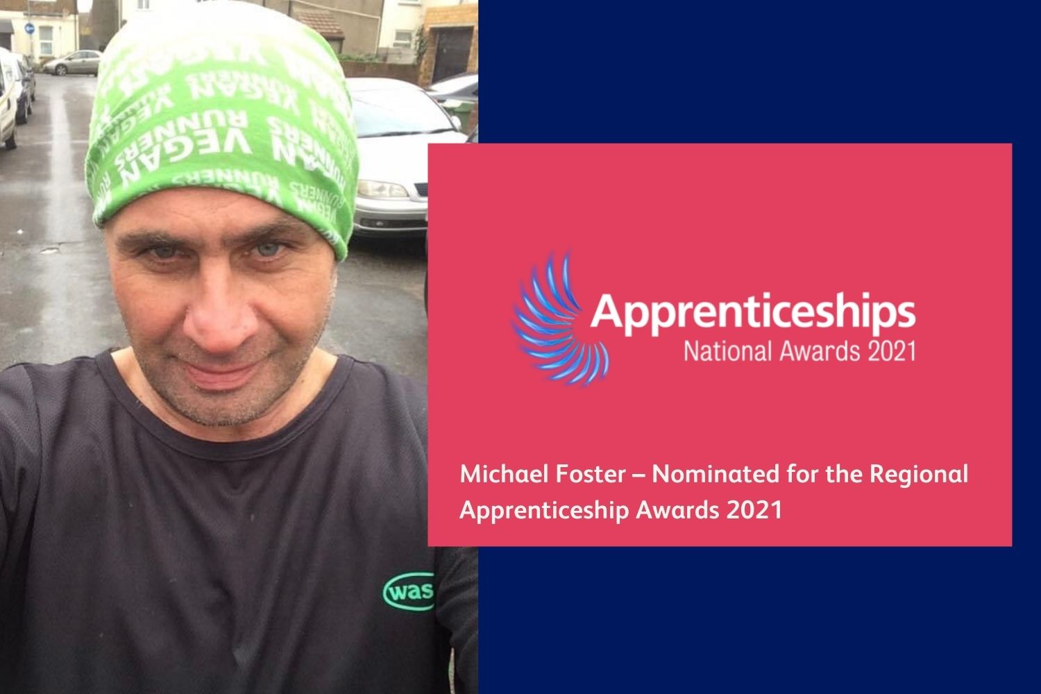 Photo of a Michael with the Apprenticeship Awards logo