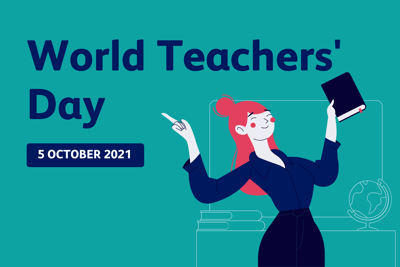 World Teachers' Day graphic with a cartoon teacher