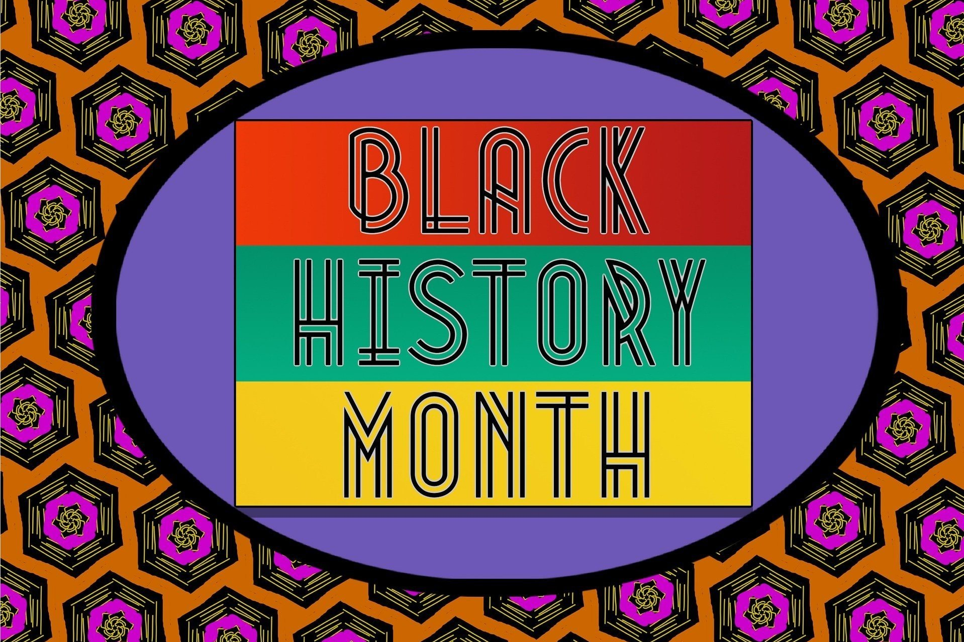 Black History Month graphic with colourful text and pattern